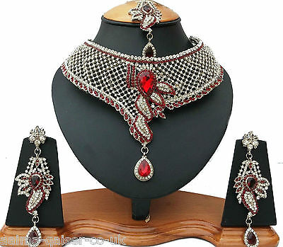 Indian Vintage Style Jewellery Set Silver Plated Red Clear Stones New - Aq/53