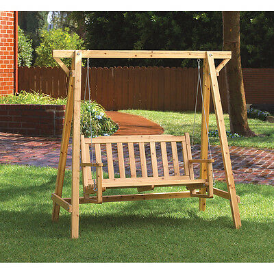 Rustic Wood Swing Bench Chair Yard Garden Deck Patio Outdoor Seat CLEARANCE