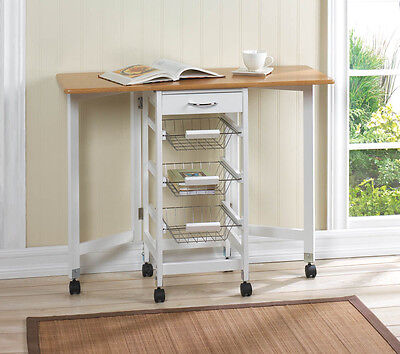 Kitchen Extendable Movable Table Island Cart Basket Drawer Storage KITCHEN  SALE
