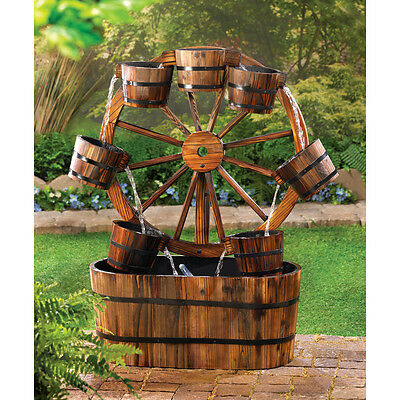Rustic Wagon Wheel Trough Style Fountain Water Yard Garden with Pump CLEARANCE