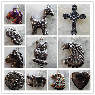 New Wholesale Promotion Price! Carved Black Hematite Animal Pendant Bead LXJ-94