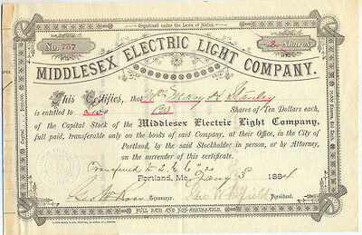 USA Middlesex Electric Light Company alte Aktie 1884 Amerika old share RAR