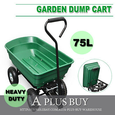 Garden Rubbish Dump Dip Load Towed Cart Trolley Trailer Straight Handle Small