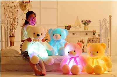 New Colorful Romantic LED Light Glow Pillow Soft Cosy Relax Cushion 50cm Bear
