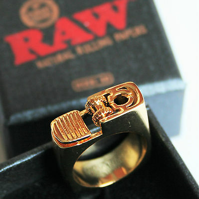 Raw Rolling Papers Gold Ring Lighter Size 10 Limited