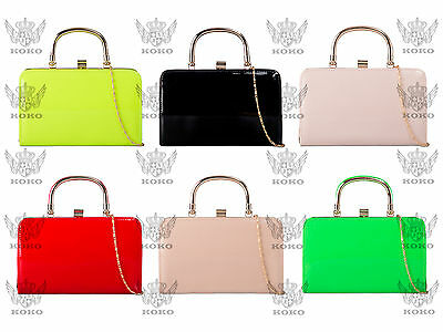 Nude Patent Evening Clutch Handbag Party Prom Wedding Bag Purse 15 Colors -90741