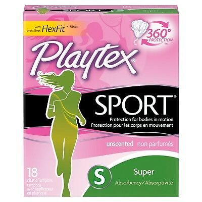 Playtex Sport Super Unscented Tampons, 18ct