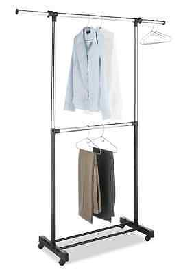 Garment Rack Portable Two Rod Hanger Adjustable Clothes Closet Storage Organizer