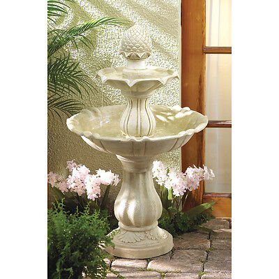 Acorn Two Tiered Water Fountain with Pump Garden Yard Deck Patio CLEARANCE