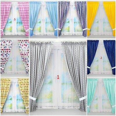 LUX 2 PIECE BABY BEDROOM CURTAINS SETS WITH TIE BACKS PATTERNED four length