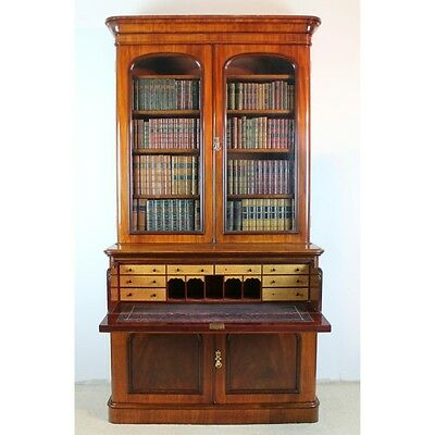 Antique Victorian Mahogany Two Door Secretaire Bookcase Cabinet UK Delivery £120