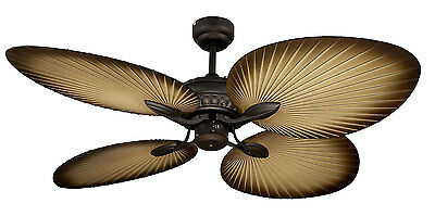 Ceiling Fan Oasis Series Four Palm Leaf Shapped Blade MOF134OB Martec Lighting