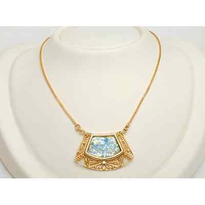 14k Yellow Gold Roman Glass Jewish Necklace Yemenite Filigree Pendant w/ Chain