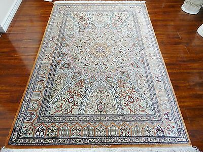 Silk Masterpiece 1970 Antique Authentic Hand Made Mint Persian Qum Gonbad Rug S