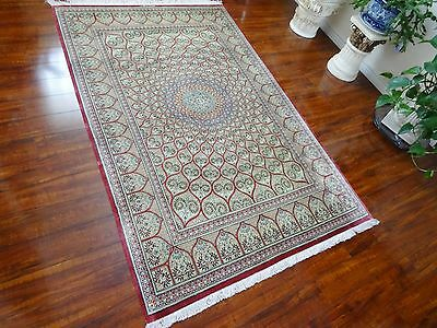 Silk Masterpiece 1970 Antique Authentic Hand Made Mint Persian Qum Gonbad Rug 10
