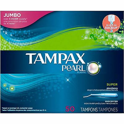 Tampax Pearl Plastic Super Absorbency Tampons, Unscented, 50 Count
