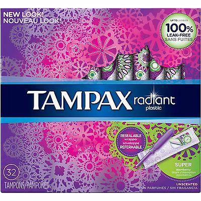 Tampax Radiant Plastic Unscented Super Absorbent Tampons, 32 count