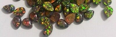 Lab Created Synthetic Black Opal - Pear Cabochon AAA Loose stone (5x3-10x7mm)