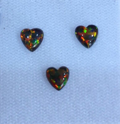 Lab Created Synthetic Black Opal Heart Cabochon AAA Loose stone (4x4-6x6mm)