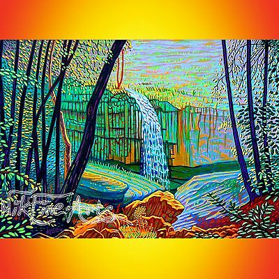 Original Painting Large Signed Art Collector Investment Waterfall Tree Wall Deco