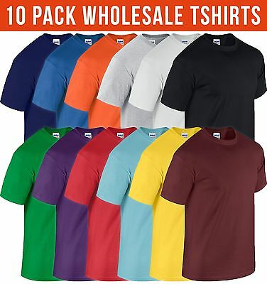 10 Pack Mens HEAVY COTTON GILDAN T shirt Workwear Bulk Job Lot Tshirt Wholesale