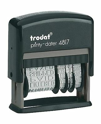 Trodat 4817 Date Stamp with 12 Changeable Messages, Blue Ink