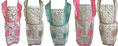 Floral Apron + Front Pocket For Chefs Butcher Kitchen Cooking Craft Baking Bbq