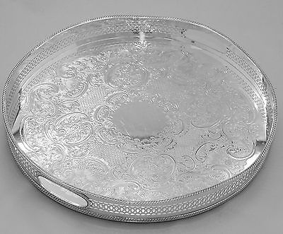 "English Vintage Silver 15"" Round Gallery Tray - Beautiful Piece!"