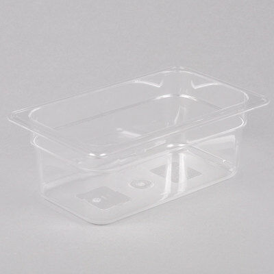 "1/4 Size Clear Plastic Polycarbonate Food Pan - 4"" Deep"