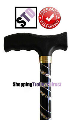 Black with Silver Engraved Flecked Stripes Ladies Adjustable Walking Stick Cane