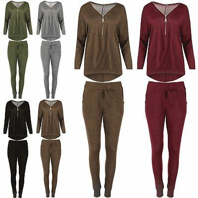 Ladies Knitted Hi Lo Jogging Bottom Set Marl Sweats Womens Long Sleeve Tracksuit