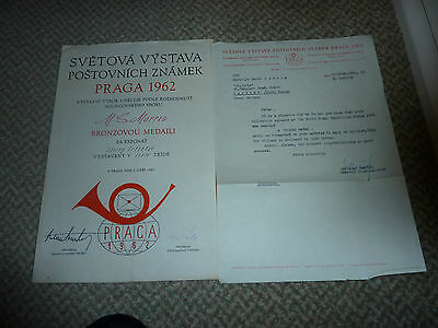 Stamp Collectors Memorabilia. Bronze Award World Stamp Exhibition, Praga 1962