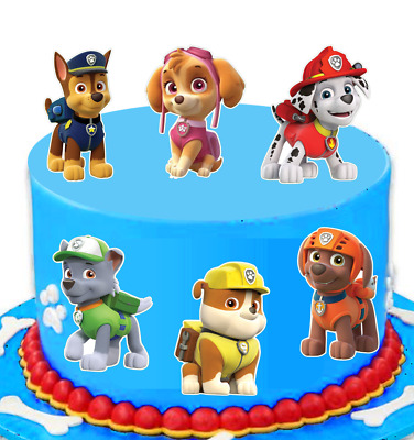 Paw Patrol Large EDIBLE wafer cake toppers STAND UP   x6