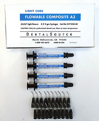 Light Cure MICRO HYBRID FLOWABLE Composite Dental Supply 4 Syringe Kit Shade A3