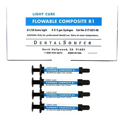 Light Cure MICRO HYBRID FLOWABLE Composite Dental Supply 4 Syringe Kit Shade B1