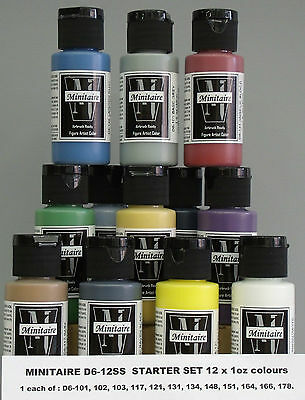 BADGER MINITAIRE AIRBRUSH PAINT STARTER SET 12 x1oz WAR GAMER WARHAMMER