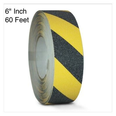"Black/Yellow Safety Tape 6"" x 60' Roll Anti Slip Sticker Grip Grit Safe Non Skid"