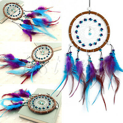 Dream Catcher With Feathers Turquoise Beads Car Wall Hanging Decoration Ornament