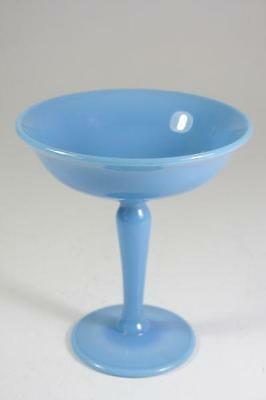 Art Deco Hand Made Blue Milk Glass Comport / Cup