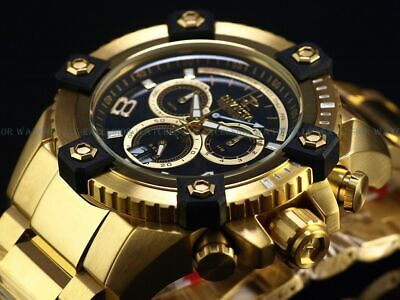 Invicta Men 63mm Grand Arsenal Swiss Chrono Black MOP Dial All 18KGP SS Watch