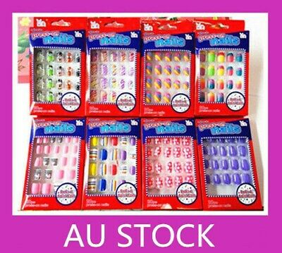 20/24 pcs Girls Kids Designer Acrylic Fake False Nail Set Nail Tips  For Party