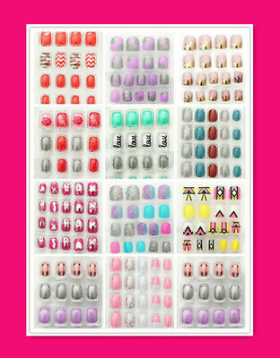 New 24 pcs Acrylic Girls Cute Fake Nail Set For Party With Press-On Glue