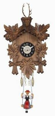 Swinging Girl Doll Quartz Movement Wooden German Deer Head Clock with Sound