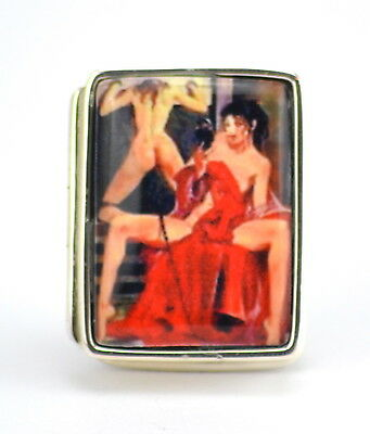 Enamel Antique Style Erotic Pill Box 925 Solid Sterling Silver