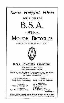 1927 BSA 4.93hp S27 instruction book