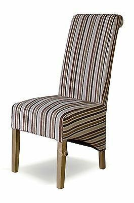 Celine solid oak set of four striped multi-colour fabric dining room chairs