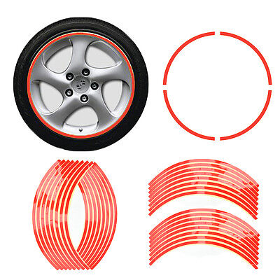 "17"" Red Reflective Car Motorcycle Wheel Rim Stripe Decal Tape Sticker Decor New"