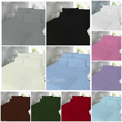 Percale Valance Fitted Flat Sheet Double Super King Single pillowcases plain New