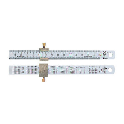 SHINWA 15cm 150mm Stainless Steel Mini Ruler Scale with Stopper for Work Craft