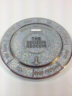 SPINNING The Decision Maker Geocoin Trackable - Sparkling White